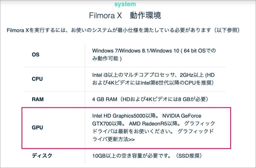 Windows-動作環境-Filmora X