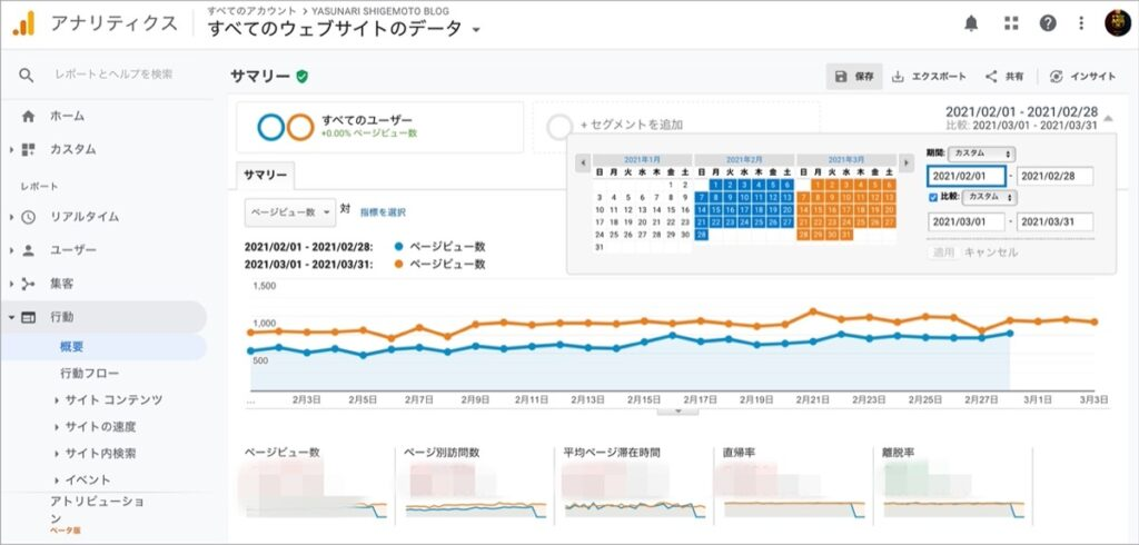 Googleアナリティクス-データ比較