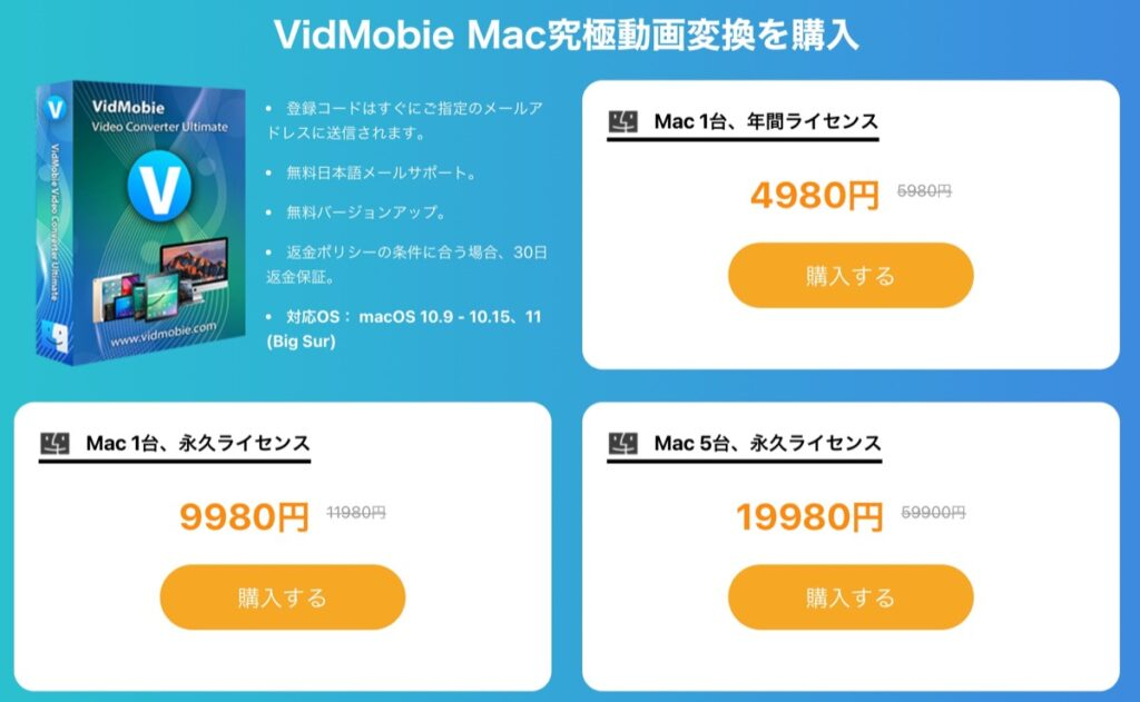 VidMobie究極動画変換-料金-mac